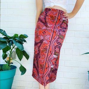 Dresses & Skirts - Vintage 1990s paisley wrap pencil skirt (S)